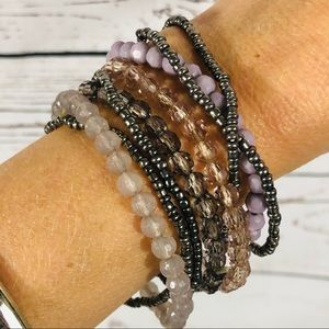 Mexx 8 Strand Stretchy Beaded Bracelet Set